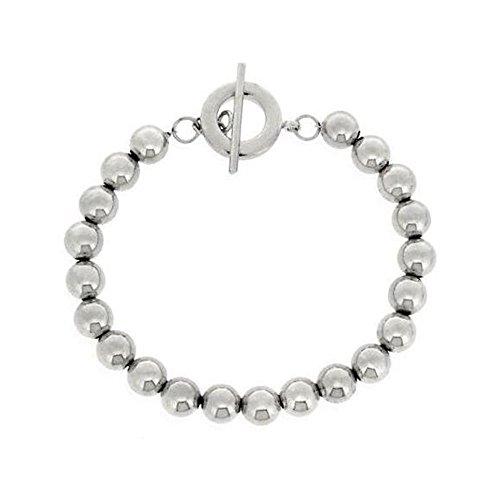Glitzs Jewels Sterling Silver Beaded Toggle Bracelet