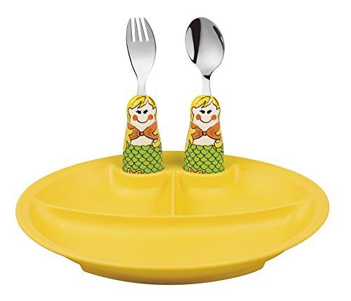 Eat4Fun Duo Collection Eat & Play 3-Piece Dinnerware Set, (Yellow Plate, Mermaid Spoon, & Mermaid Fork) by Eat4Fun
