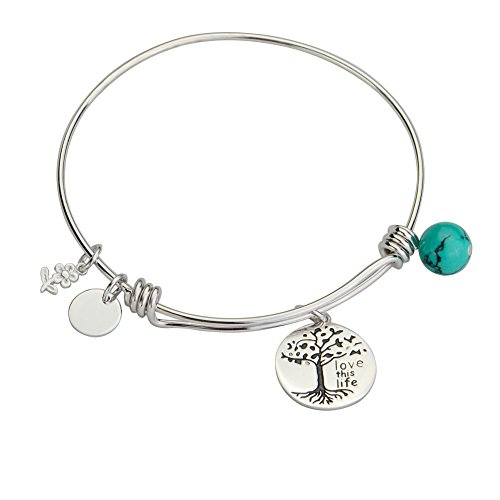 YFN Tree of Life Charm Expandable 925 Sterling Silver Bangle Bar Bracelet 7.75'