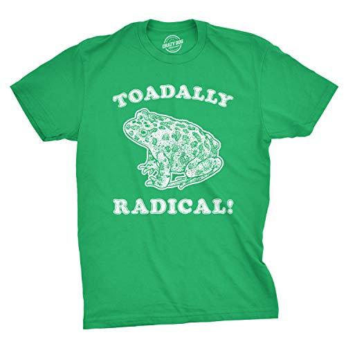 Crazy Dog T-Shirts Mens Toadally Radical Tshirt Funny Frog Tee (Green) - ()