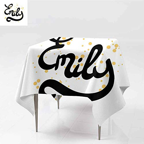 Antifouling Tablecloth Emily Hand Drawn Monochrome Cursive Font Modern Calligraphic Signature Design Mustard Black and White and Durable W60 xL69