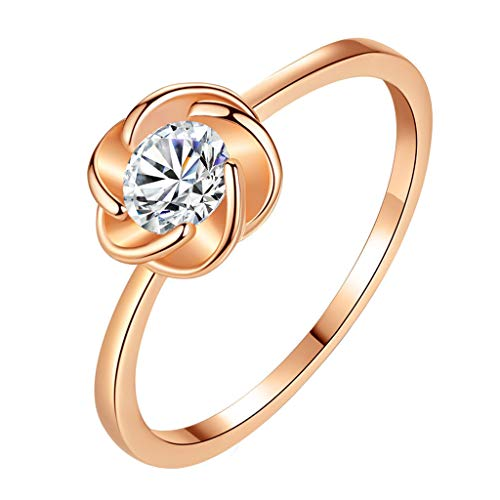 Fxbar Women Chic Rose Flower Rings Romantic Cubic Zirconia Promise Rings Jewelry Couple Engagement Wedding - Stackable Ring Flower Romantic