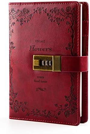Lock Diary Leder Locking Journal Schreiben von Notizbuch Vintage Lock Planner Agenda Persönliches Tagebuch Weinrot (Weinrot)
