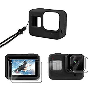 Deyard Accessories Kit for GoPro Hero 8 with Silicone Rubber Protective Case + 4pcs Ultra Clear Tempered Glass Screen Protector + 2pcs Display HD Lens Protector with GoPro Hero 8 Black