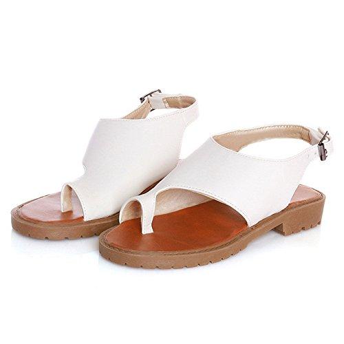 COOLCEPT Damen Freizeit Slingback Sandalen Schuhe Flach White