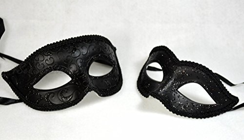 His and Her Masquerade Masks Couple 2 Piece Masks Set Many Designs by Yacanna (Simple Black) (Simple Venetian Masks)