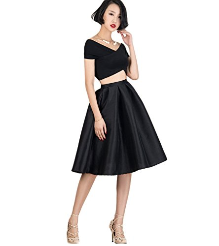 PERSUN Women's High Waist Silky Metallic A-line Formal Party Midi Skater Skirt, Black02 Small Classic Flare Skirt