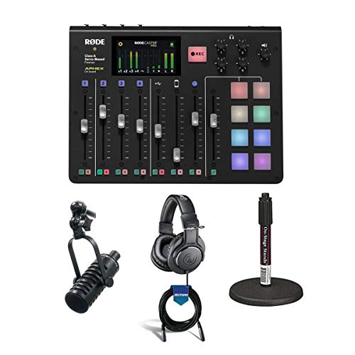 Rode Microphones RODECaster Pro Integrated PodcastProduction Console - Bundle with MXL BCD-1 Live Broadcast Mic, On-Stage DS7200B Mic Stand, AT ATH-M20x Pro Monitor Headphones, 20' XLR Mic Cable