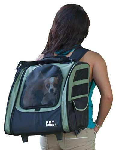 Pet Gear I-GO2 Roller Backpack, Travel Carrier, Car Seat for Cats/Dogs, Mesh Ventilation, Included Tether, Telescoping Handle, Storage Pouch ()