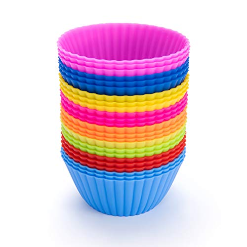 - Silicone Baking Cups,SAWNZC Reusable Cupcake Liners Non-stick Muffin Cups Cake Molds Standard Size, 24 Packs in 8 Rainbow Colors