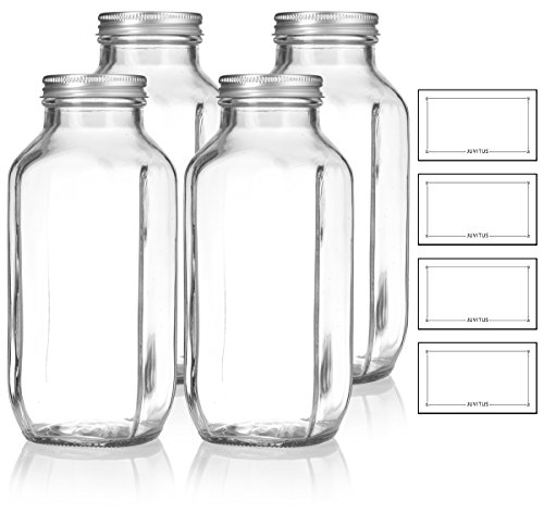 16 oz / 480 ml Clear Thick Plated Glass French Square Empty Bottle Jar with Metal Silver Lid (4 Pack) Perfect for Home, Travel, Juicing, Kombucha