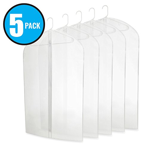 """Five Pack of PEVA 40"""" Translucent Garment Bags with Zipper for Travel and Storage of Suits or (Acetate Blouse)"""