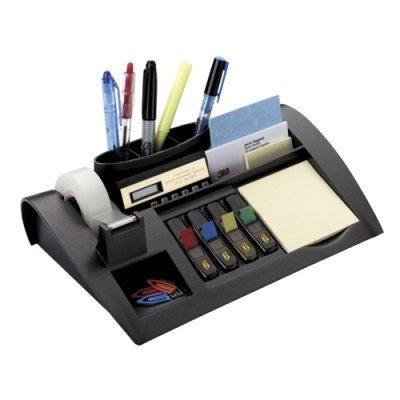 MMMC50 - Post-it Notes Dispenser with Weighted Base, Plastic, 10 1/4'' x 6 3/4'' x 2 3/4'', Black