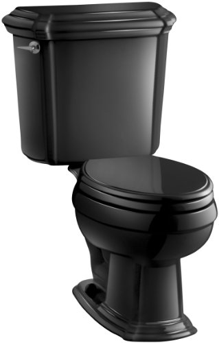 Kohler K-3591-U-7 Portrait Elongated Toilet with Left-Hand Trip Lever and Insuliner Tank Liner, Less Seat, Black Black