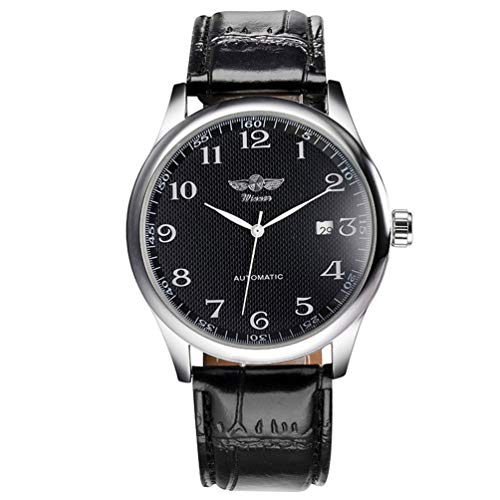 Mechanical Winding Movement Watch - VIGOROSO Mens Watches Automatic Mechanical Black Dial Leather Strap Wrist Watch
