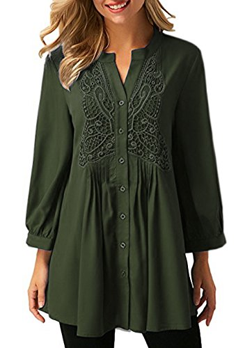 Trendimax Womens Long Sleeve Flared Comfy Loose Fit Tunic Tops   M  Army Green