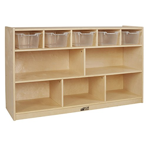 ECR4Kids Birch 5+5 Storage and Tray Cabinet with 5 Scoop Front Bins, Clear by ECR4Kids