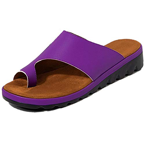 Xiakolaka Womens Slide Sandals Flat Platform Open Toe Bunion Sandals Purple 43 ()