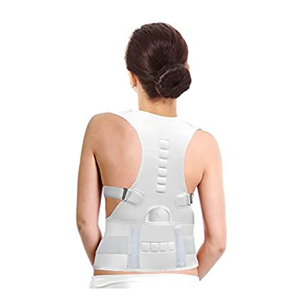 Image of Braces & Splints Teleshop Medical Grade Adjustable Magnetic Therapy Lumbar Support, White, 7.5 Ounce (Pack of 12)