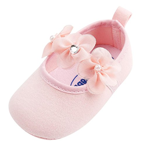 Axinke Infant Girls Soft Sole Cute Flowers Mary Jane Crib Shoes Prewalker (Pink, Age:0~6 Month)