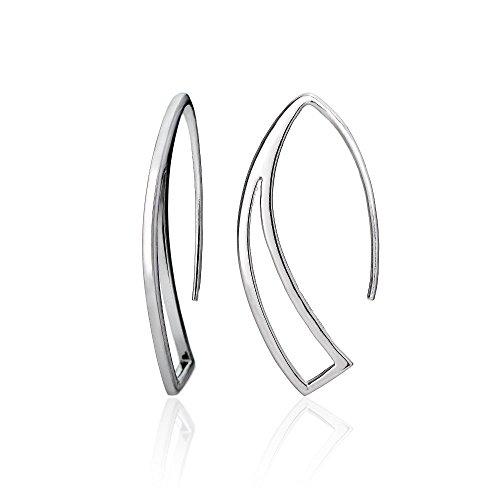 Hoops & Loops Sterling Silver Geometric Polished Hook Earrings
