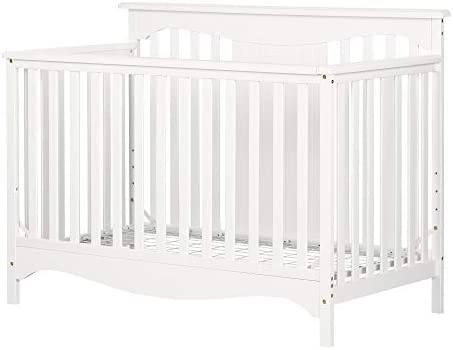 South Shore Savannah, Pure White Baby Crib 4 Heights with Toddler Rail,