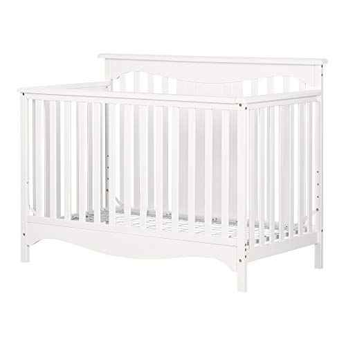 (South Shore 11846 Savannah, Pure White Baby Crib 4 Heights with Toddler Rail,)