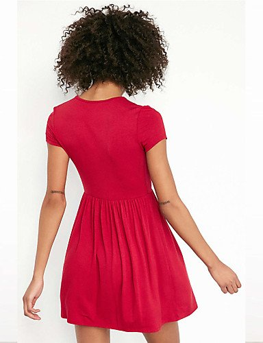 PU&PU Robe Aux femmes Ample Sexy / Simple,Couleur Pleine V Profond Mini Polyester , black-l , black-l