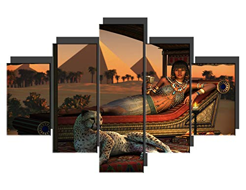 (TUMOVO Contemporary Wall Art Ancient Egyptian Lady Artwork on Canvas 5 Piece Prints Painting for Living Room Tame Cheetah Pictures House Decor Wooden Framed Gallery-Wrapped Ready to Hang(60''Wx40''H) )