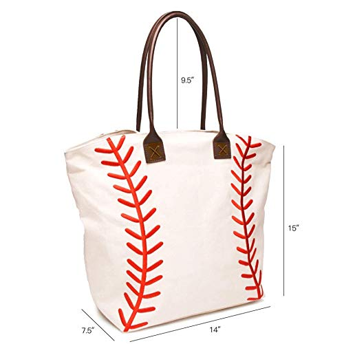 Embroidered Baseball Canvas Tote Bag Handbag Large Oversize Sports 20 x 17 Inches