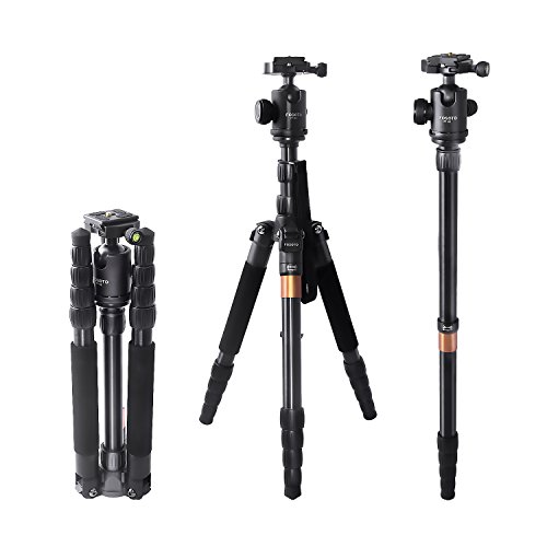 FOSOTO F-666 Portable Camera Tripod Monopod with Ball Head and Quick Release Plate for Nikon D3300 D3400 D5500 D7200 D810 D750 D610,Canon EOS Rebel T4 T5 T6 SL1 80D 750D,Sony & more DSLR