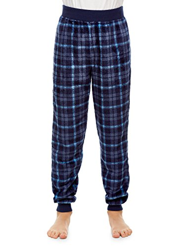 Boys Pajama Bottoms | Cozy Flannel Fleece Denim Plaid Jogger Style PJ Pants - M