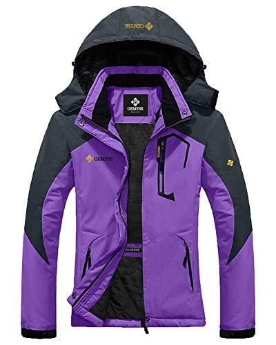 GEMYSE Women's Mountain Waterproof Ski Jacket Windproof Rain Jacket (Purple, XL)