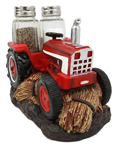 Ky & Co YK Vintage Country Farm Red Tractor Salt & Pepper Shakers Holder Figurine Kitchen