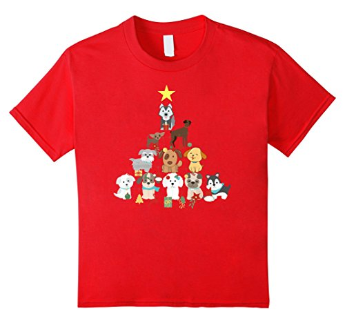 Kids Christmas Dog Tree T-Shirt Cute Funny Dogs Xmas Gift Top Tee 10 Red