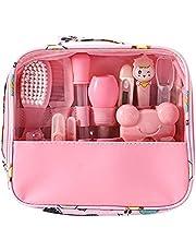 JJone Conjunto de kit de cuidados com o bebê 13 PCS Kit de cuidados de saúde e cuidados com o bebê para termômetro Alimentador nasal Aspirador de dedo Escova de dentes para recém-nascidos Conjunto de manicure infantil Conjunto de ferramentas para escova de cabelo Clirs para crianças
