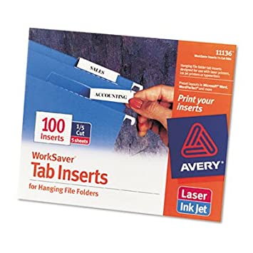 image relating to Printable Folders called Avery 11136 Printable Inserts for Putting Document Folders, 1/5 Tab, 2, White, 100/Pack