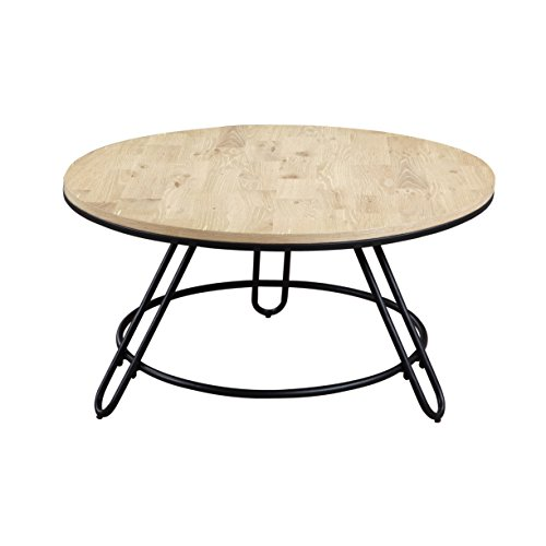 Emerald Home Penbrook Natual and Black Coffee Table with Round, Swivel Top And Metal Base