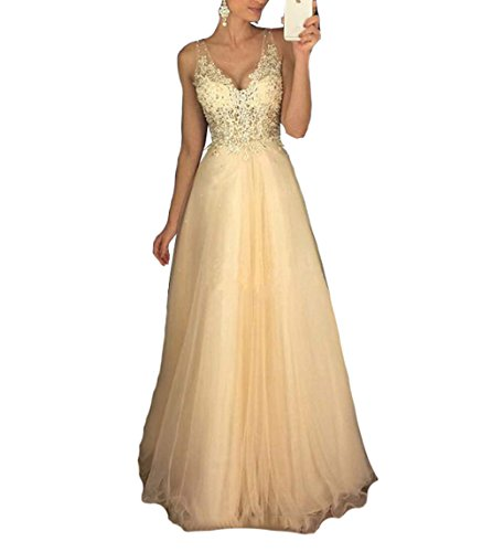 Half Flower Bridal Champagne Tulle A-Line Evening Prom Dress Backless Lace Applique Long Party Dress ()