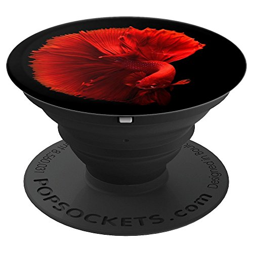 Red Beta Fish - Chinese Fighting Fish Swimming - PopSockets Grip and Stand for Phones and ()