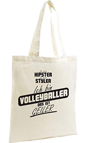 Shirtstown Shopping Bag Organic Zen, Shopper du bist hypster du bist styler ich bin Volleyballer das ist geiler natur