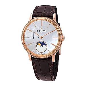 Zenith Elite Señora 18kt oro rosa automático de la fase lunar diamante blanco madre perla dial reloj señoras 22.2320.692/80.C713 1