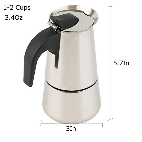 Espresso Maker Stovetop Moka Coffee Pot Stainless Steel Latte Percolator with Bonus Scoop (2 Cups/100 Milliliter) by Espresso Maker (Image #2)