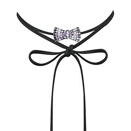 (Kwan Women's Choker Necklace Austrian Rhinestone Crystal Bow Tie Velvet Bowknot Collar Jewelry Girls (Silver Plated))