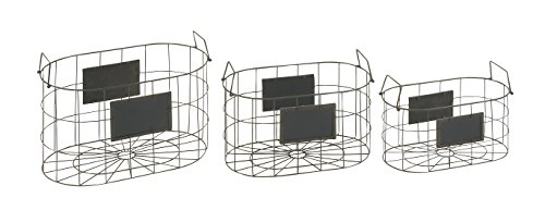 "Deco 79 42522 Metal Wood Storage Basket (Set of 3), 16""/18""/20""W - Suitable to use as a decorative item Unique home decor This product is manufactured in China - living-room-decor, living-room, baskets-storage - 41u7pNSHsTL -"