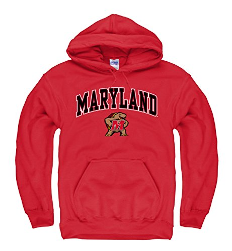 Campus Colors Maryland Terrapins Adult Arch & Logo Gameday Hooded Sweatshirt - Red, X-Large
