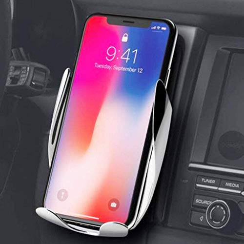 Automatic Clamping Wireless Car Charger Mount - Car Charger Holder for iPhone XR XS Max X 8 8+,10W Fast chargeing for Samsung All.Infrared Motion Sensor Automatic Open and Clamp for Safe Driving -