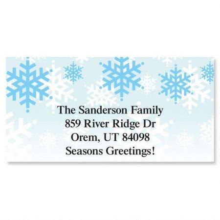 Holiday Stripes Address Label - Snowflakes Stripes Christmas Personalized Border Return Address labels- Set of 144 1-1/8