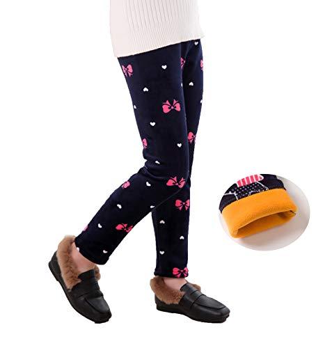 Fancy Youyee Girls Fleece Lined Leggings Printing Winter Thick Warm Pants (Pink Butterfly, 6T-7T)