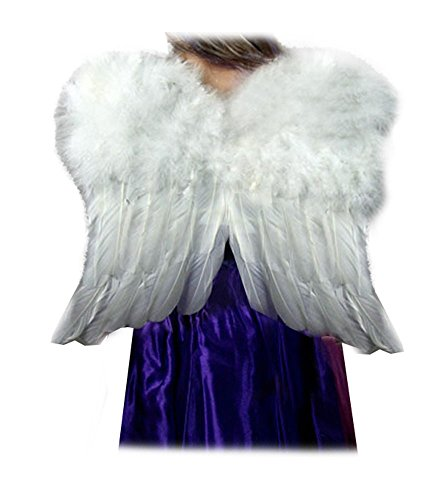 SACASUSA (TM Small White Feather Angel Fairy Wings Kids Children Girls -